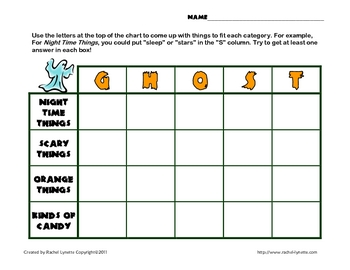 Halloween Freebie: Fun Scattergories-Type Word Game!