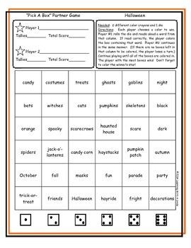 Halloween FREEBIE Partner Game  ~ Pick-A-Box Word Fun
