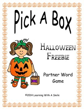 Halloween FREEBIE Partner Game  ~ Pick-A-Box Word Fun