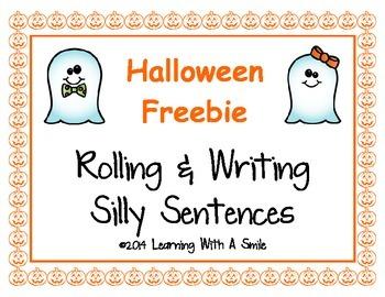 Halloween FREEBIE: Rolling & Writing Silly Sentences ~ Cut