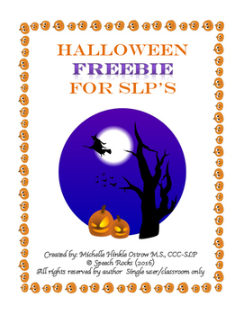 Halloween Freebie for SLPs