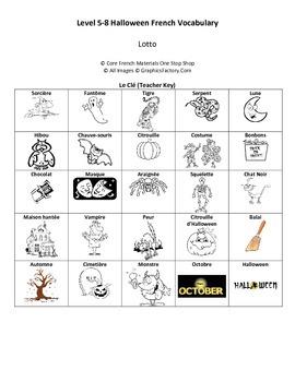 Halloween French Lotto (Bingo) Cards