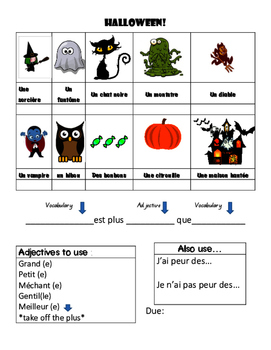 Halloween French Project - Comparisons in French