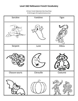 Halloween French Vocabulary Printing Page