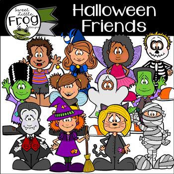 Halloween Friends in Costumes Clip Art