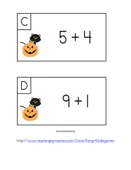 Halloween Friends Add the Room (Sums of 0-10)
