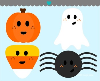 Halloween pumpkin ghost candy corn spider clipart commercial use