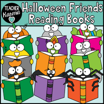 Halloween Friends Reading Books Clipart