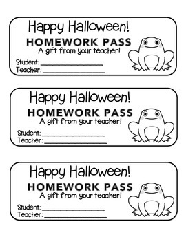 """Halloween"" Frog - Homework Pass –Holiday FUN! (black line version)"