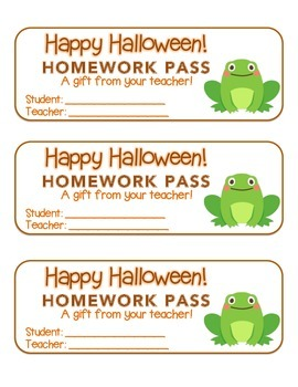 """Halloween"" Frog - Homework Pass –Holiday FUN! (color & black line version)"