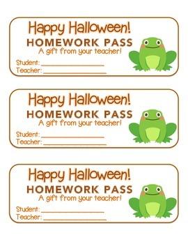 """Halloween"" Frog - Homework Pass – Holiday FUN! (full color version)"