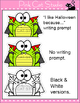 Halloween Writing Literacy Center Activity - Frog Zombie, Witch, Frankenstein