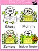 Halloween Writing Literacy Center Activity - Frog Zombie, Witch, Frankenstein