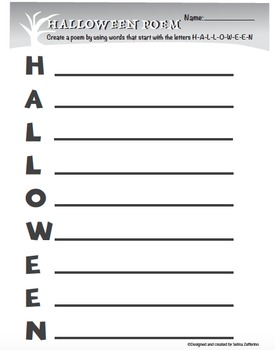 Halloween Fun Acrostic Poem Activity