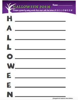 Halloween Fun Acrostic Poem Activity