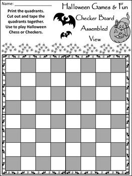 Halloween Fun Activities: Halloween Checkers & Chess Game Activitiy Packet