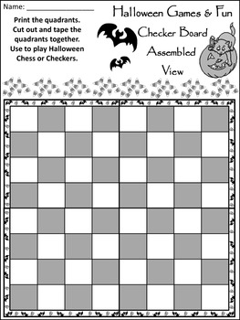picture about Printable Checkers Board known as Halloween Pleasurable Functions: Halloween Checkers Chess Video game Recreation - B/W