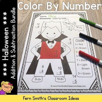 Color By Numbers Halloween Math Addition and Subtraction Facts Bundle