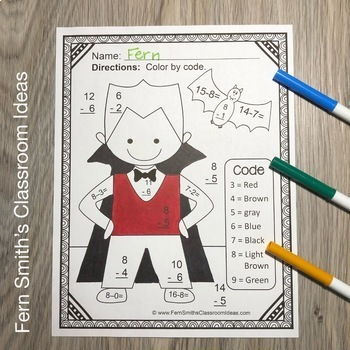 Color By Numbers Halloween Math Subtraction