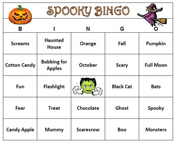 Halloween Fun Spooky Bingo Game- 60 Unique Cards Printable