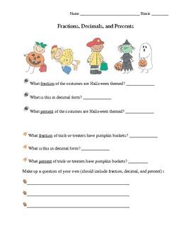 Halloween Fun - Fractions, Decimals, and Percents