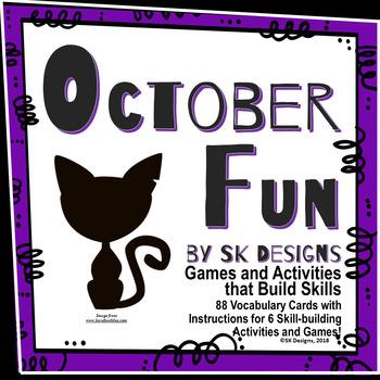 Halloween October Fun Activities to Build Skills with 88 Vocabulary Flash Cards