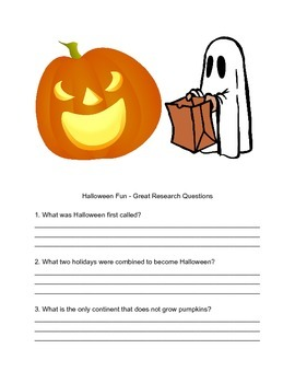 Halloween Fun - Great Research Questions!