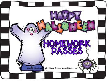 Halloween Fun Homework Pass 3