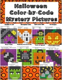Halloween Fun Mystery Pictures Color by Code Math and Literacy