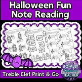 Music Worksheets: Treble Clef Note Reading {Halloween Fun}