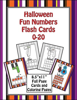 Halloween Fun Number Flash Cards 0-20 - FULL SHEET