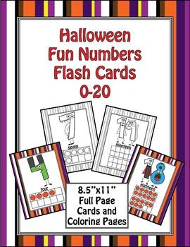Halloween Fun Number Flash Cards 0-20 - FULL SHEET