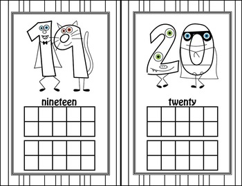 Halloween Fun Number Flash Cards 0-20 - HALF SHEET