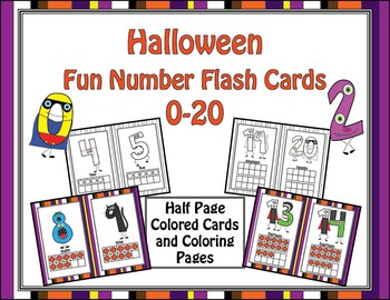 Halloween Fun Number Flash Cards 0-20 - HALF SHEET