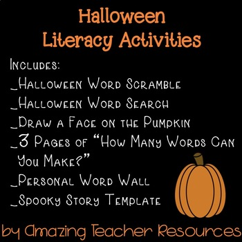 Halloween Fun! Packet with 10 Pages of Halloween Literacy Activities!