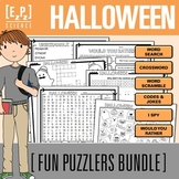 Halloween Puzzlers Holiday Bundle- No Prep! Print and Go!