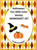 Halloween Fun With Colors Variety Worksheet Set