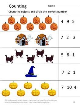 Halloween Worksheet set P-K,K, Special Education, Autism