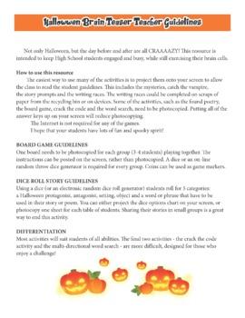 HALLOWEEN CREATIVE WRITING High School ELA prompts and activities