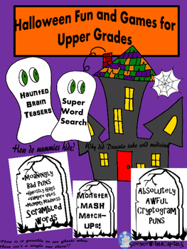 Halloween Puzzles and Activities for Upper Grades with Brain Teasers