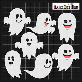 Halloween Funny Ghosts Clip Art - Great for Art Class Projects!