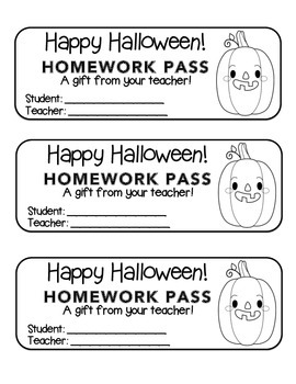 """Halloween"" Funny Pumpkin - Homework Pass –Holiday FUN! (black line version)"