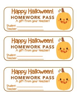 """Halloween"" Funny Pumpkin - Homework Pass –Holiday FUN! (color & black line)"