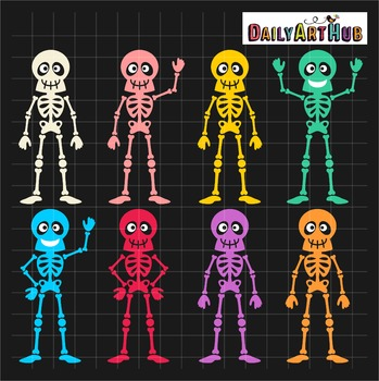 Halloween Funny Skeletons Clip Art - Great for Art Class Projects!