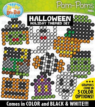 Halloween Fuzzy Pom-Poms Clipart {Zip-A-Dee-Doo-Dah Designs}