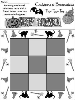 Halloween Game Activities: Cauldrons & Broomsticks Halloween Tic-Tac-Toe