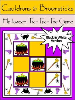 Halloween Game Activities: Cauldrons & Broomsticks Tic-Tac-Toe Game - B/W