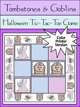 Halloween Game Activities: Tombstones & Goblins Tic-Tac-Toe Game Activity -Color
