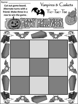 Halloween Game Activities: Vampires & Caskets Halloween Tic-Tac-Toe Game