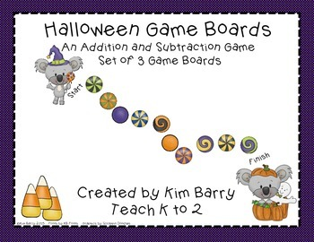 Game Boards - Addition and Subtraction Practice - Halloween Edition